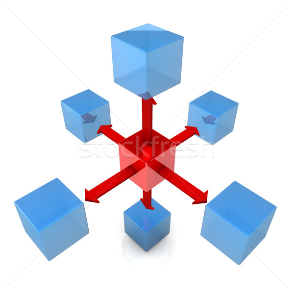 Six Blue Cubes With Red Cube Stock photo © limbi007