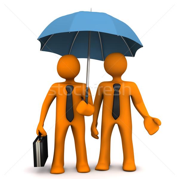 Foto stock: Empresário · guarda-chuva · laranja · empresários · preto