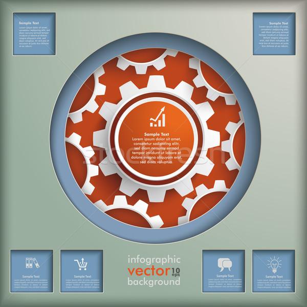 Círculo círculos retro projeto cinza Foto stock © limbi007