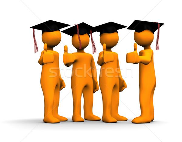 Diplomás narancs képregények pozitív szimbólum fehér Stock fotó © limbi007
