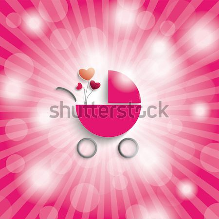 Pink Sky Rays Girl Baby Buggy Stock photo © limbi007
