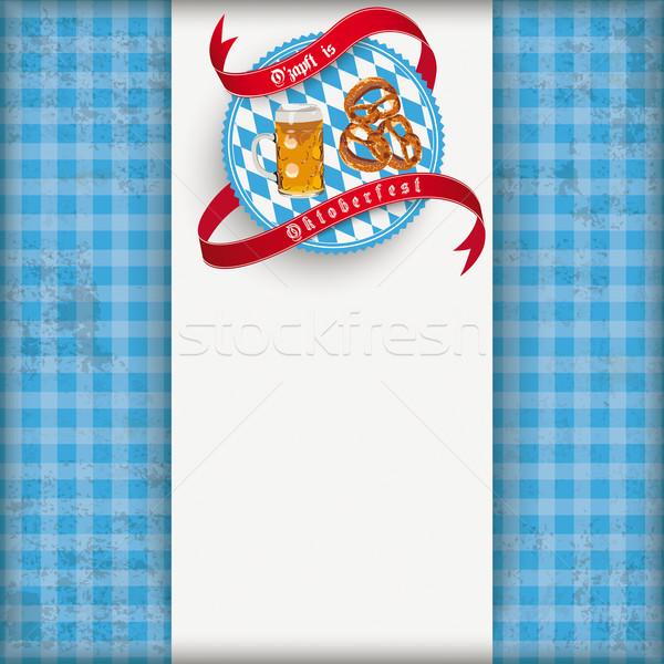 Vintage Blue Checked Cloth Centre Oktoberfest Stock photo © limbi007