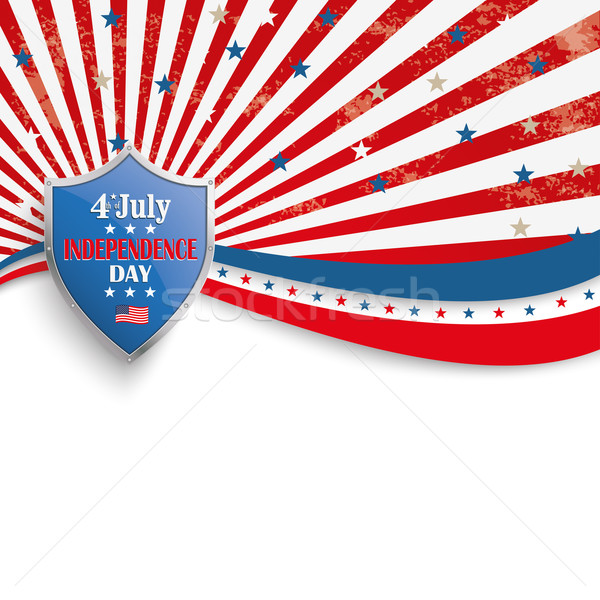 4th July Stars Stripes Flyer Silver Shield Stock photo © limbi007