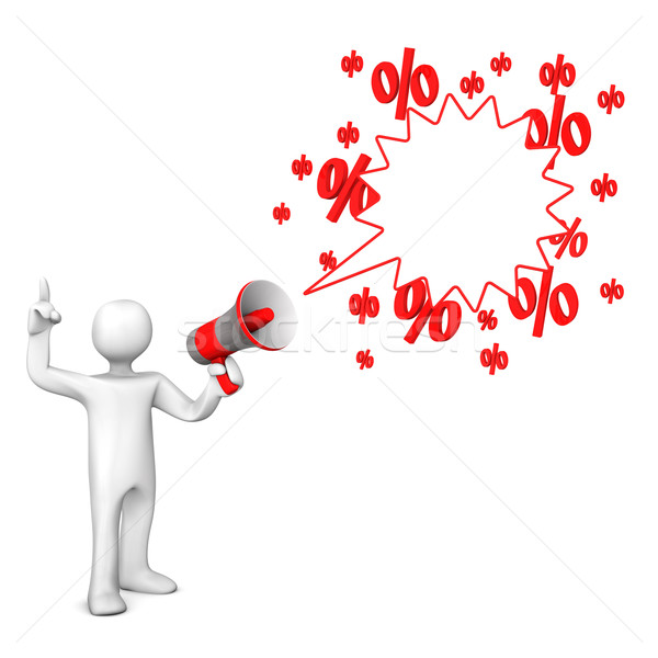 Manikin Bullhorn Speech Bubble Sale Stock photo © limbi007