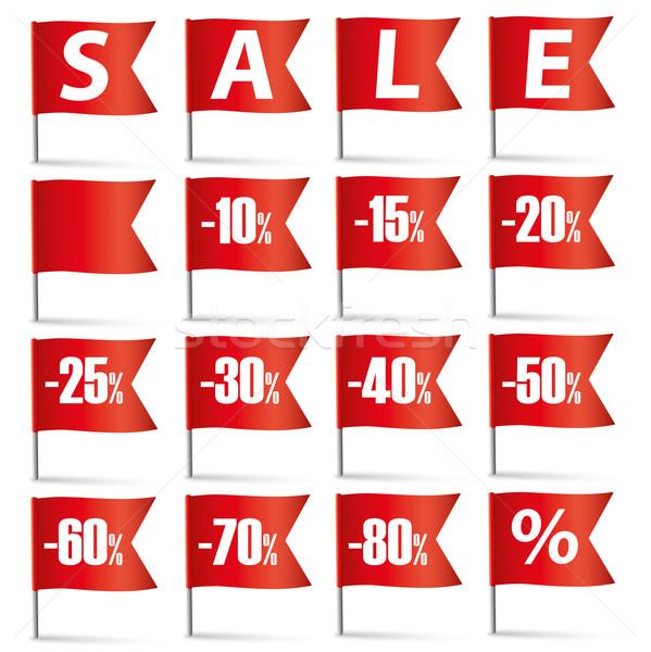 Red Pin Flags Sale Set Stock photo © limbi007