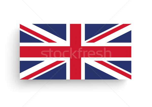 Brit zászló árnyékok fehér zászló Egyesült Királyság eps Stock fotó © limbi007