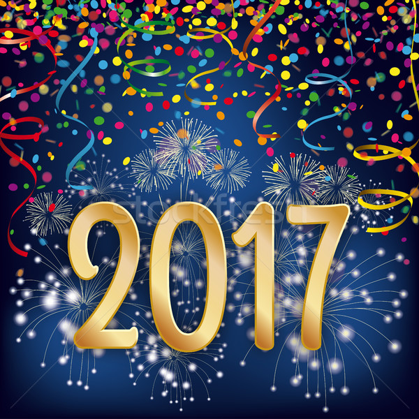 2017 Silvester Night Fireworks Confetti Ribbons Stock photo © limbi007