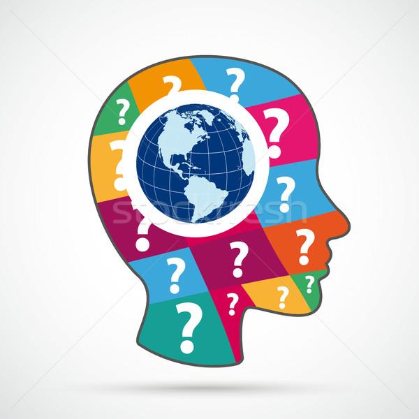 Menselijke hoofd gekleurd vraag stukken wereld Stockfoto © limbi007