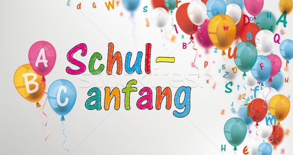 Colored Letters Balloons Header ABC Schulanfang Stock photo © limbi007