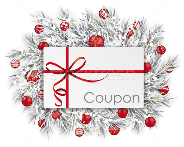 Frozen Twigs Coupon Thin Ribbon Snow Red Baubles Stock photo © limbi007