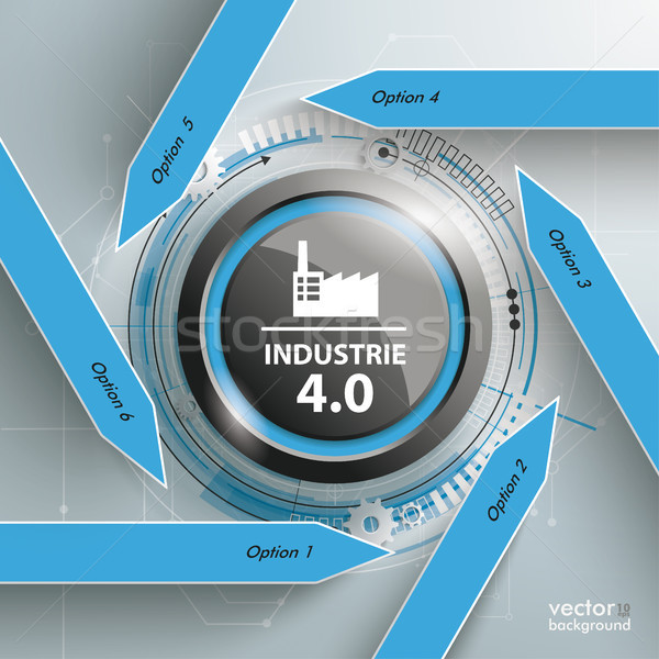 Six Arrows Black Button Industrie 4.0 Infographic Stock photo © limbi007