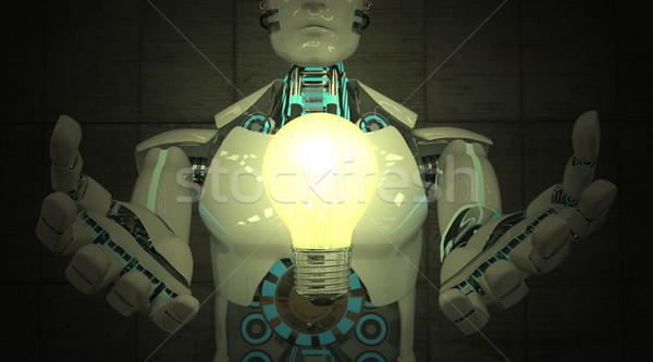 Robot lampadina bianco illustrazione 3d luce potere Foto d'archivio © limbi007