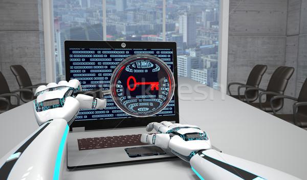Robot Hands Loupe Notebook Key Stock photo © limbi007