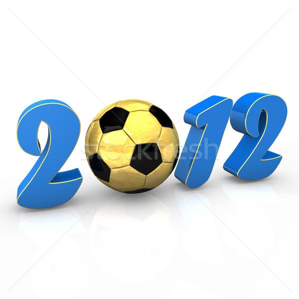 Futebol 2012 texto dourado futebol branco Foto stock © limbi007