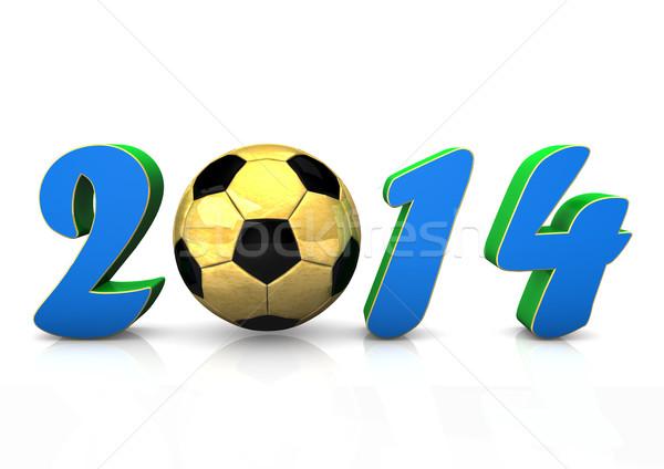 Piłka nożna 2014 tekst złoty biały piłka nożna Zdjęcia stock © limbi007