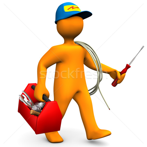 Electrician With Toolbox And Cord Stock photo © limbi007