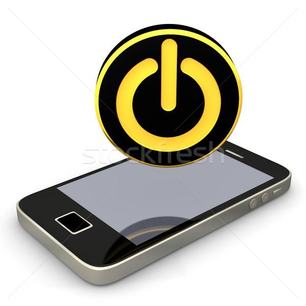 Kezdet okostelefon fekete arany gomb internet Stock fotó © limbi007