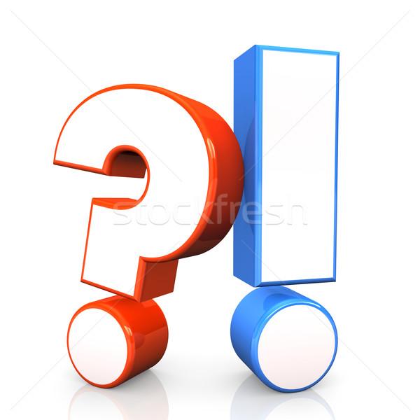 вопросе ответ красный вопросительный знак синий восклицательный знак Сток-фото © limbi007