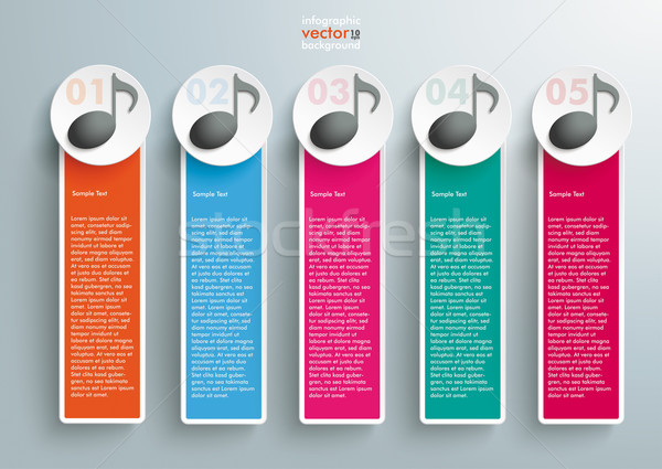 5 Colored Oblong Banners Music Notes Stock photo © limbi007