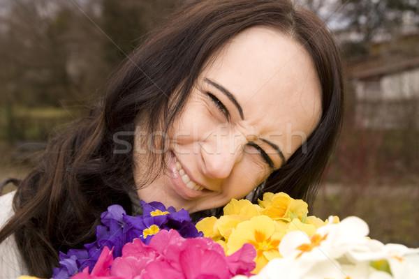 Lány fekete haj kert kezek nők Stock fotó © limbi007