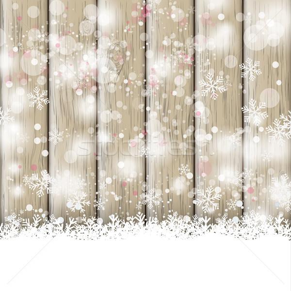 Sneeuwval as houten sneeuw eps 10 Stockfoto © limbi007