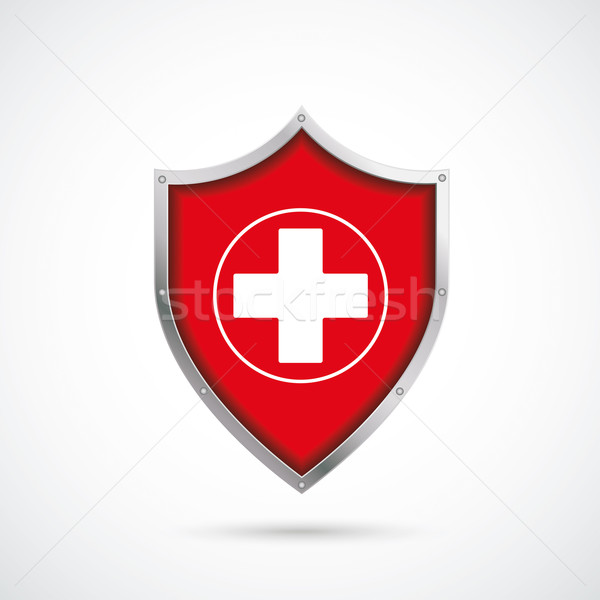 Ochrony tarcza krzyż biały eps 10 Zdjęcia stock © limbi007