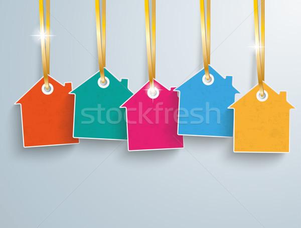 Gekleurd prijs sticker huizen gouden Stockfoto © limbi007