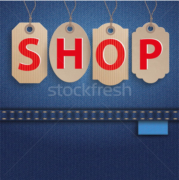 Stock photo: Jeans Carton Price Stickers Shop