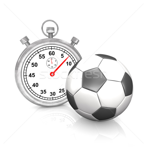 Stopwatch voetbal stopwatch klassiek witte 3d illustration Stockfoto © limbi007