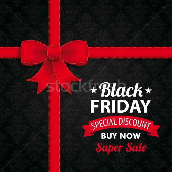 Black friday super vente ruban arc wallpaper Photo stock © limbi007