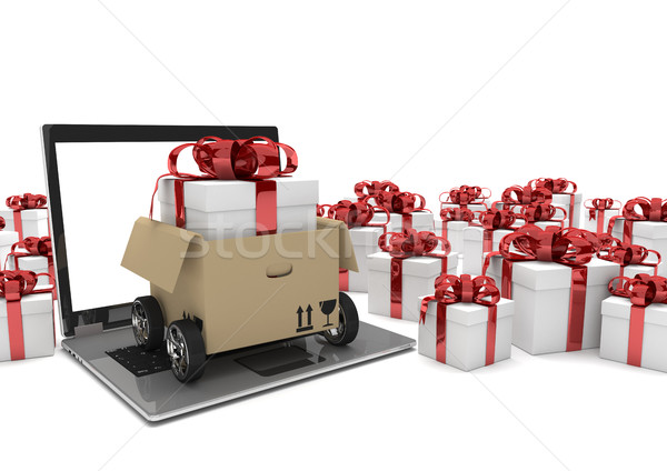 Notebook Carton Wheels Gift Boxes  Stock photo © limbi007