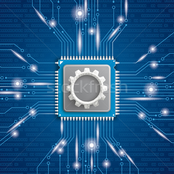 Microchip Processor Gear Blue Background Stock photo © limbi007