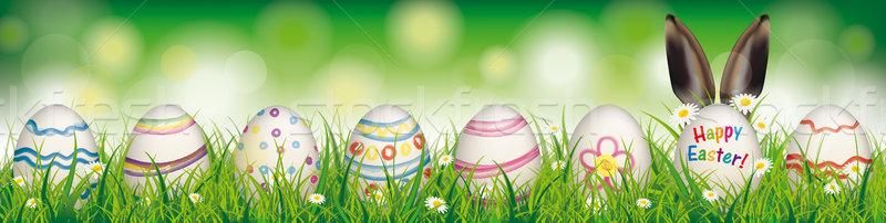 Stok fotoğraf: Doğal · paskalya · yumurtası · iyi · paskalyalar · tavşan · kulaklar