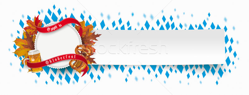 Paper Banner Oktoberfest Emblem Foliage Beer Ribbon Stock photo © limbi007