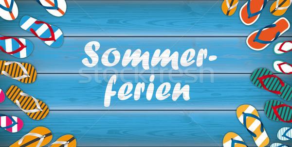 Fából készült centrum fejléc szöveg nyár ünnepek Stock fotó © limbi007