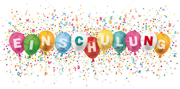 Einschulung Header Colored Balloons Confetti Explosion Letters Stock photo © limbi007