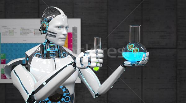Fehér robot teszt csövek DNS periodikus Stock fotó © limbi007