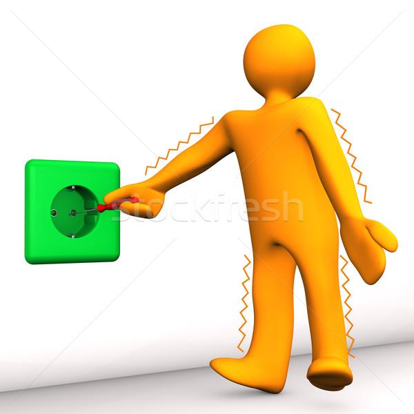 Elektrische schok oranje witte vrouw Stockfoto © limbi007