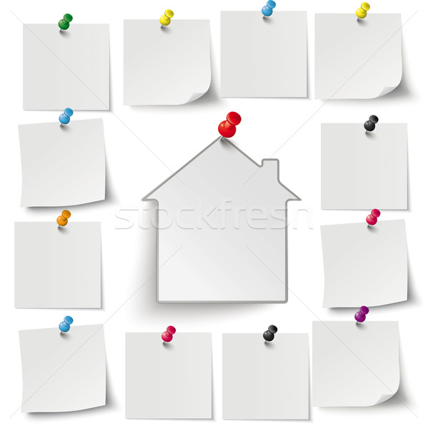Gray Stickers Colored Thumbtacks House Stock photo © limbi007