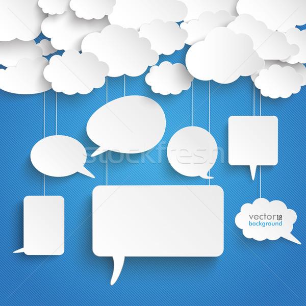 Clouds Stiped Blue Sky Speech Bubbles Stock photo © limbi007