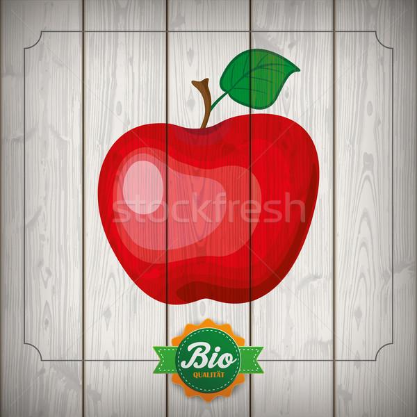 Apfel Emblem Ribbon Wood Bio Qualitaet Stock photo © limbi007