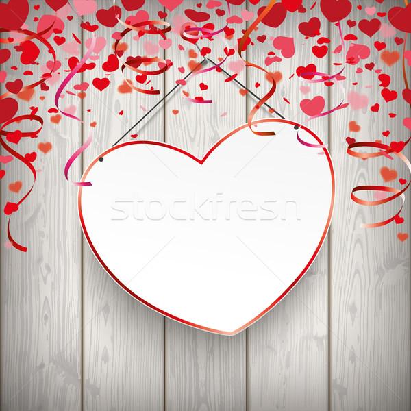 Hanging Red Heart Thumbtack Wood Stock photo © limbi007