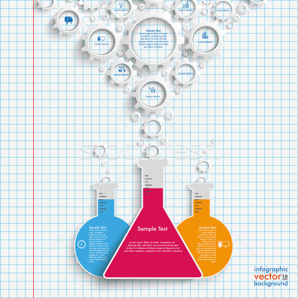 Trinagle Test Tube Gears Checked Paper Stock photo © limbi007