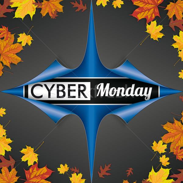 Scrolled Paper Cover 4 Corner Cyber Monday Autumn Foliage Stock photo © limbi007