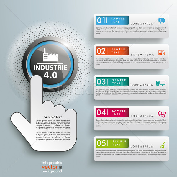 Click Hand Push Button Industrie 4.0 5 Banners Stock photo © limbi007