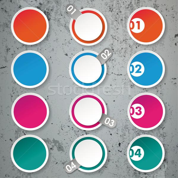 Cuatro opciones papel círculos concretas círculo Foto stock © limbi007