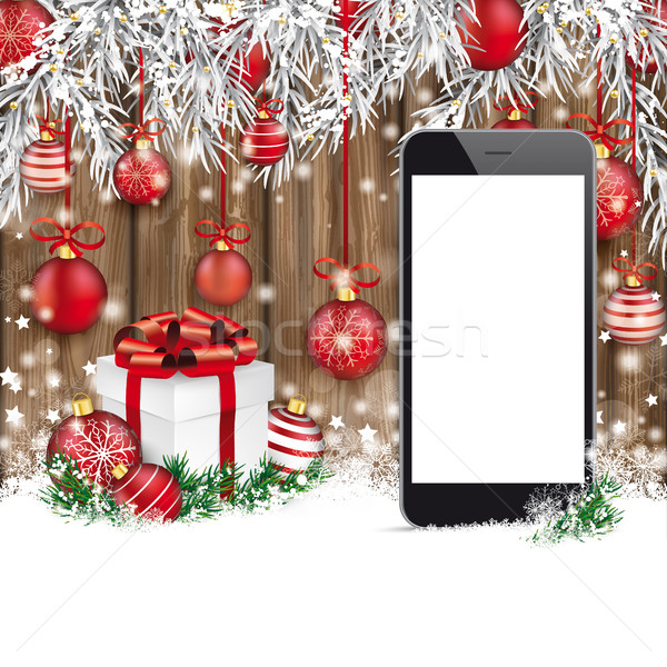 Christmas Red Baubles Frozen Twigs Snow Smartphone Worn Wood Stock photo © limbi007