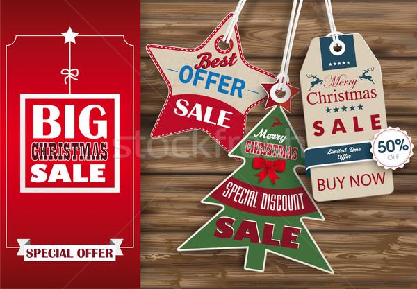 Side Oblong Banner Christmas Sale Worn Wood 3 Shopmarks Stock photo © limbi007