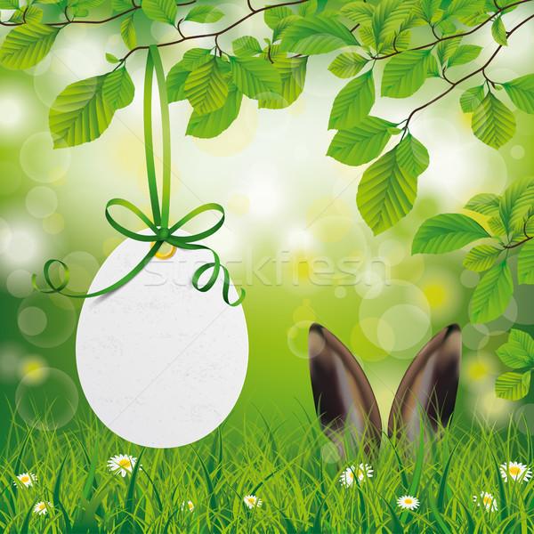 Wielkanoc cena naklejki jaj zając kłosie Zdjęcia stock © limbi007