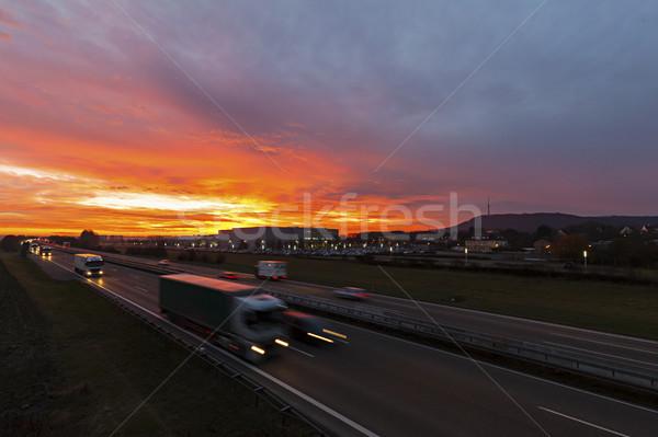 Autobahn Sunrise Germany Stock photo © limbi007